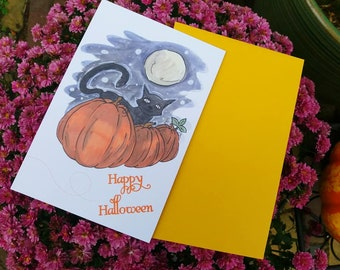 Happy Halloween Card with Envelope | Cat Pumpkin Midnight | A6