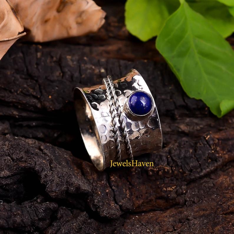 Custom Ring Worry Ring Gemstone Ring 925 Silver Ring Handmade Ring Round Stone Ring Blue Stone Ring Spinner Ring Lapis Lazuli Ring
