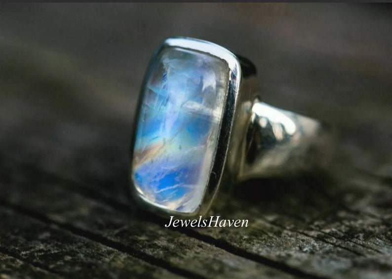 Baguette Jewelry Statement Ring Moonstone Ring Silver Band Ring Birthstone Ring Baguette Stone Ring 925 Silver Ring Gemstone Ring