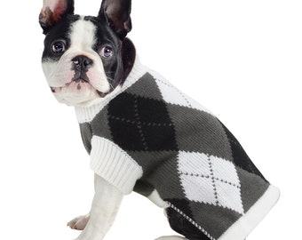 Black & White Argyle Print Knit Dog Jumper