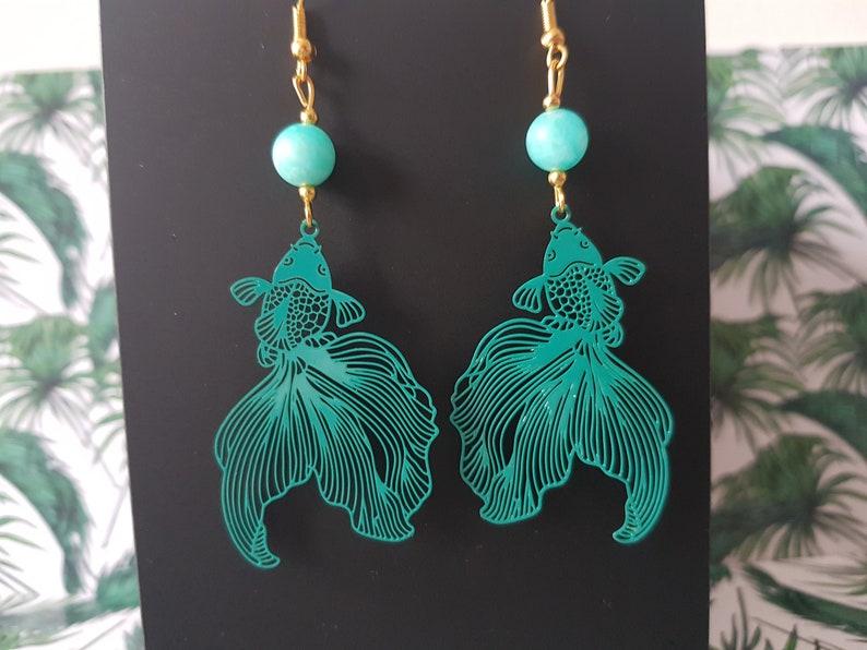 Green Carpe koi earrings