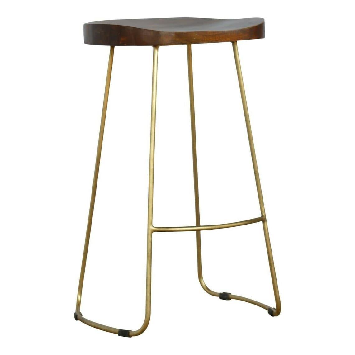 Funky Cafe Bar Stool Breakfast Bar Man Cave Industrial Mango Seat Gold Iron Legs