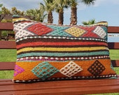 16x24 Turkish Kilim Pillows, Handwoven Decorative blue and red Pillow, Sofa Aztec Pillow, Boho Kilim Lumbar,sofa decor,Floor Cushion Cover