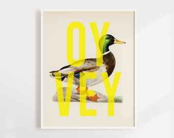 Oy Vey Duck Art Print   Fun Duck Wall Art   Neon Print   Jewish Wall Art   Mailed Art   8.5 x 11
