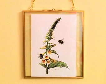 Vintage-look Victorian Glass Hinged Floating Frame with Foxglove and Bees image