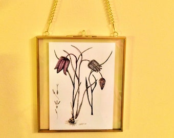 Victorian-style metal floating hinged frame, showcasing Fritillary meleagris image