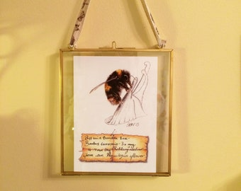 """Bufftail Bumble Bee (Bombus terrestris) """"Robbing"""" Nectar from an Aquilegia. Victorian-style Metal Hinged floating frame"""