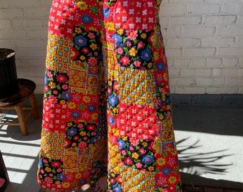 Vintage Handmade Super Wide Leg Quilted Patchwork Pants S