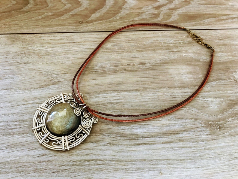 Peruvian Filigree Design with Golden Obsidian Pendant and Vegan Suede Necklace.