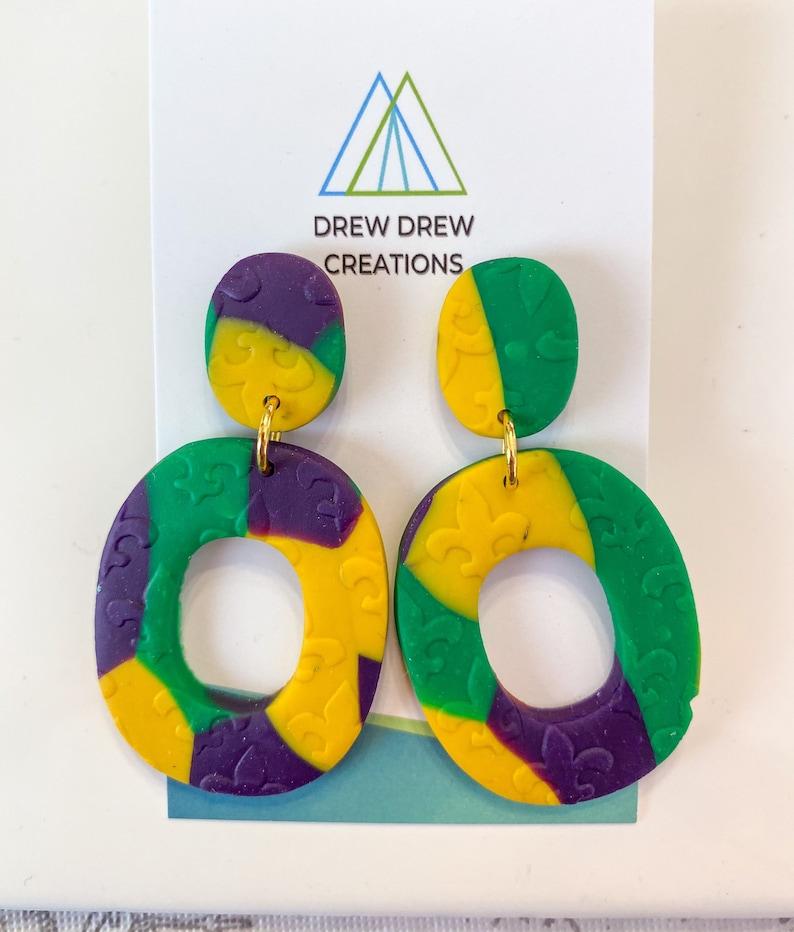 Mardi Gras 2 Clay Earrings