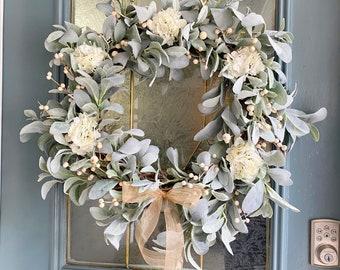 Farmhouse Year Round Wreath, Front Door Every Day Wreath, Country Wreath, Rustic Wreath, Lamb's Ear Wreath, Wreath Decor, Housewarming Gift