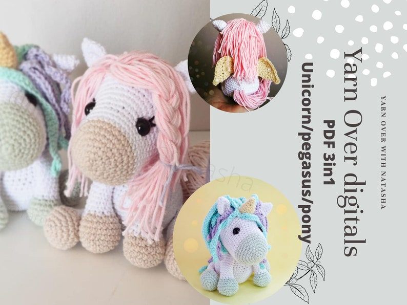 PATTERN for Unicorn/pony/pegasus: Amigurumi unicorn crochet image 1