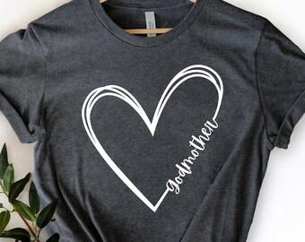 Godmother Heart Shirt, Godmother Shirt, Godmother Gift Tee, Godmother T-Shirt, Baptism Shirt, Mother's Day Shirt, I Love My Godmother Shirt