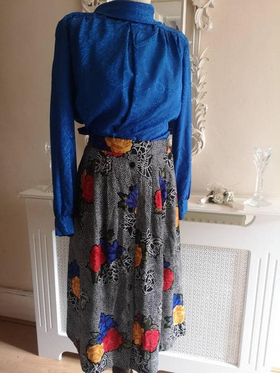 Graphic floral print 1980s Vintage skirt