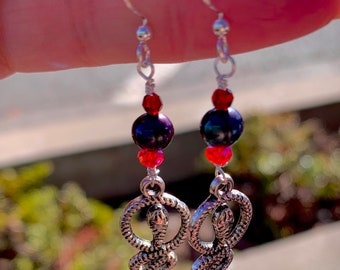 The Boy Who Lived, Swarovski Crystal/Black Pearl Earrings, Harry Potter Gryffindor Earrings