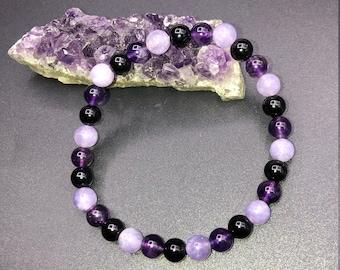Amethyst, Angelite, Black Obsidian 6mm Bracelet
