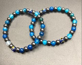 6mm Mal de Ojo Blue Striped Agate, Hematite 6mm Bracelet