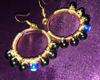 Mal De Ojo Obsidian Hoop Earrings