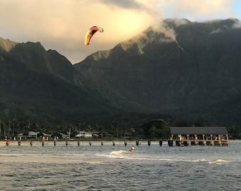 Kauai Photo - Kitesurfing at Hanalei Bay Photo Download