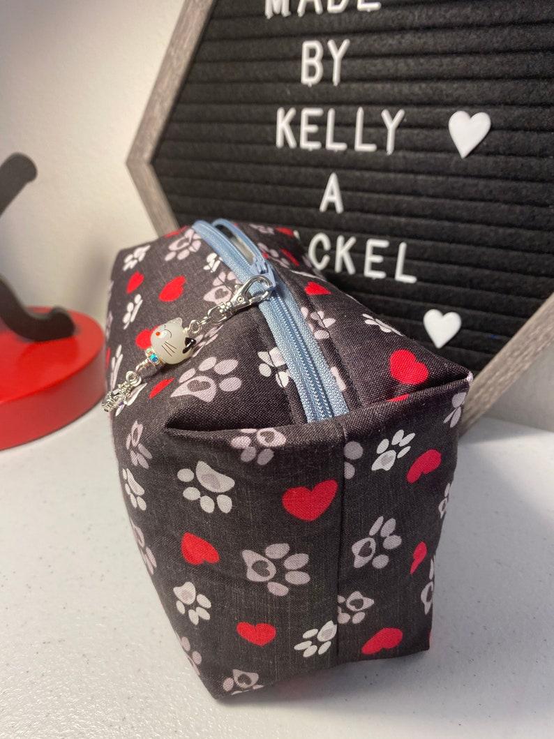 Box Zipper Pouch with Beaded Zipper Pull