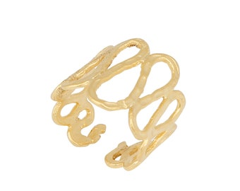 Butterflies Cuff Bracelet 24k matte gold plated bangle hand made jewellery adjustable Turkish jewellery BLZ71