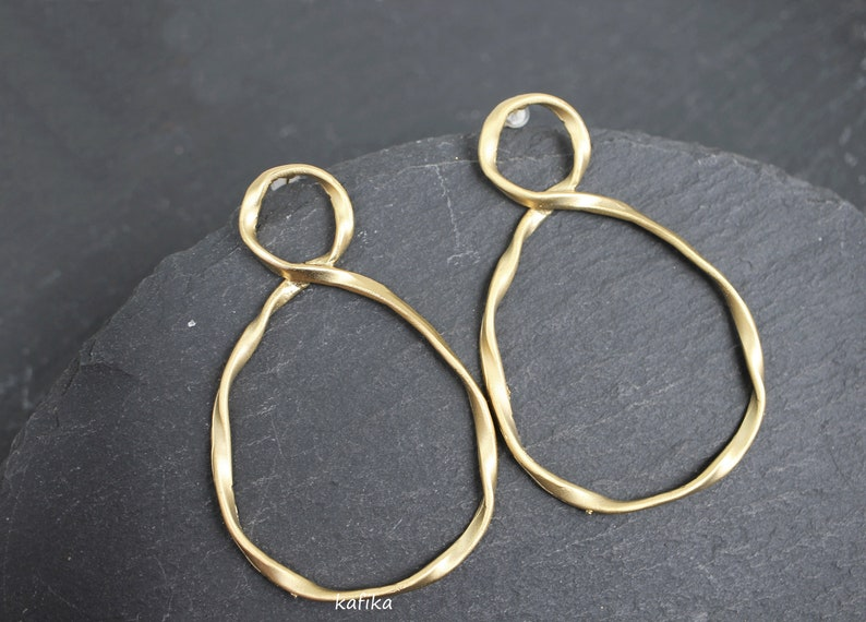 Twisted Drops Earrings 24K Matte Gold plated Long circles dangle posts Multi Circle Turkish hand made jewellery KP172