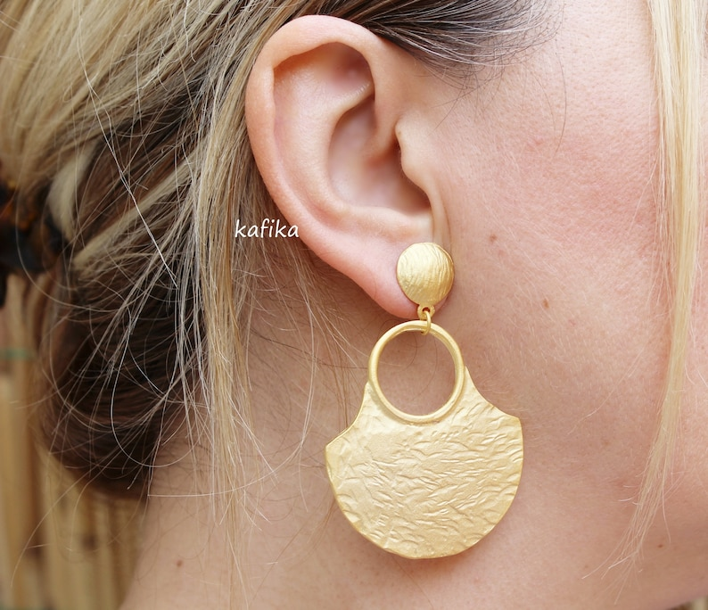 Medallion Earrings dangle 24K Gold plated posts studs Turkish hand made jewellery KP118
