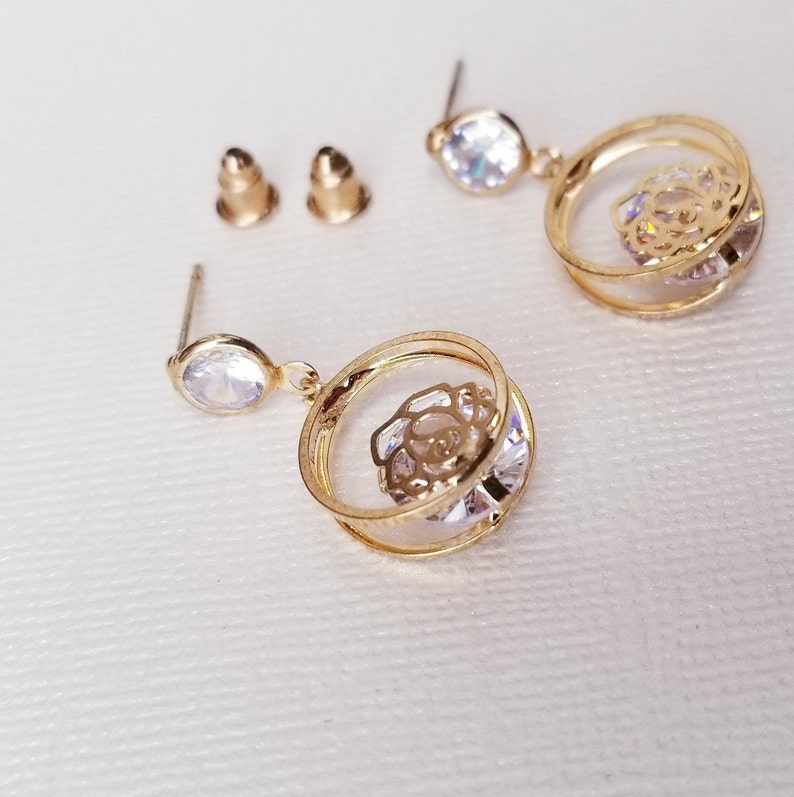 Rose in circle with big Diamond Stud Earrings Off Round copper Posts Nuts gift for Thanksgiving and Christmas.