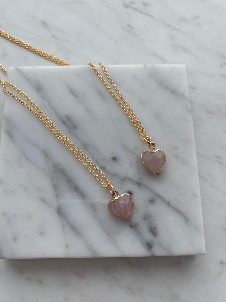 Dainty Rose Quartz Heart Necklace