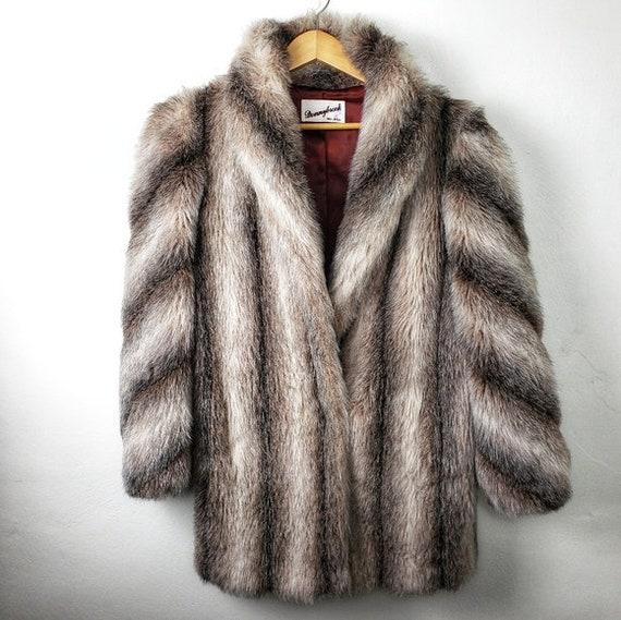 Vintage Donnybrook Striated Fur Coat Jacket Size 8