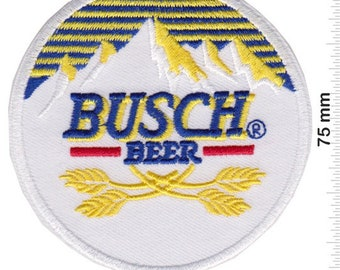 """BUSCH BEER/"""" BLUE /& YELLOW  Embroidered 3 x 3 Iron On Patch"""
