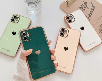 Luxury Heart Gold Accent Rich iPhone 12 11 Pro Max case iPhone 12 Mini iPhone XR case iPhone XS Max Case iPhone 7 8 Plus iPhone SE Case