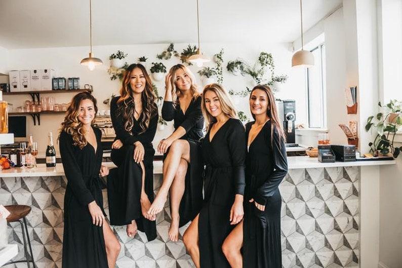 Soft Jersey Bathrobe Perfect Gift For Mom Bridesmaid Robes De Nova Black Luxe Robe Wedding Robe Women/'s Robe Long Black Robe