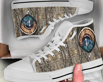 Camo High Top Sneakers Camouflage Army Print Shoes Black and White Canvas Printed Sneakers Hi Tops Army Gifts Birthday Gift Streetwear