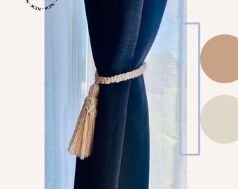 Macrame curtain tiebacks, tassel curtain tiebacks, curtain holdback