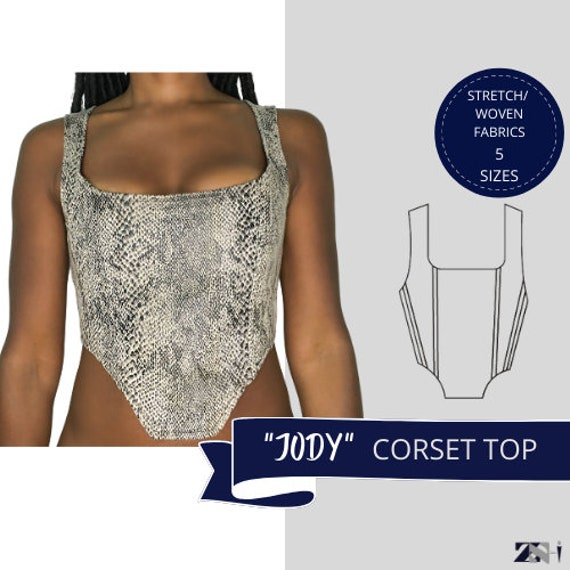 Corset Top, Pdf Top Pattern, Digital Sewing Pattern, Downloadable Pattern, Corset Crop Top