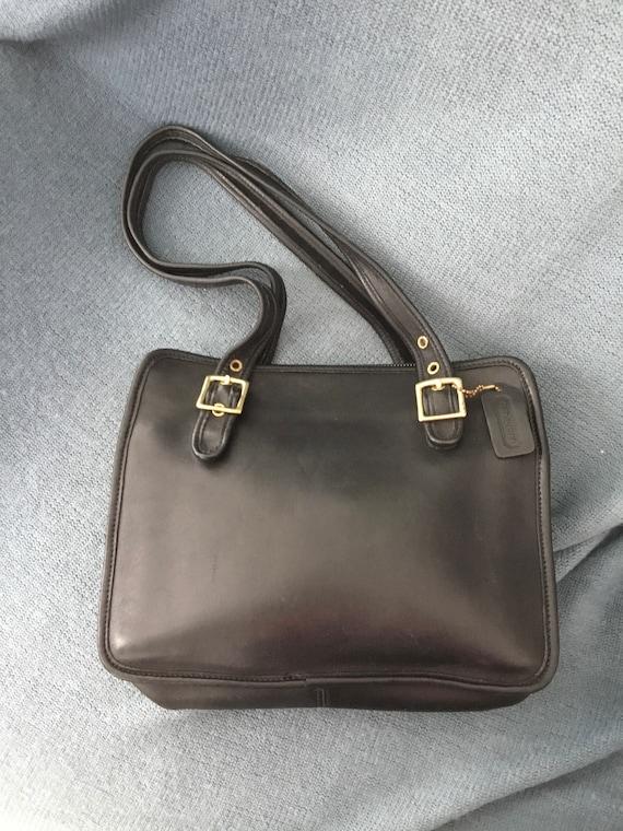 Coach zippered leather handbag