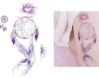 Dreamcatcher and Purple Rose Temporary Tattoo Sticker   Waterproof Transfer   Fake Tattoo   Floral Tattoo Art