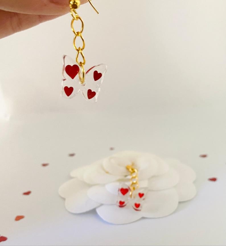Heart Butterflies Dangling Earrings