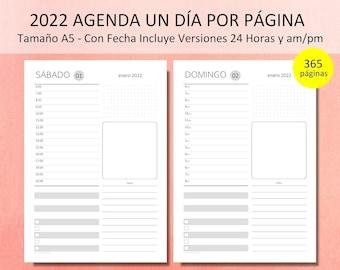 2022 Agenda Diaria Kit Imprimible Un Día Por Página Organizador Diario para 365 Días Con Fecha en am/pm o Tiempo 24 Horas. Español. PDF A5