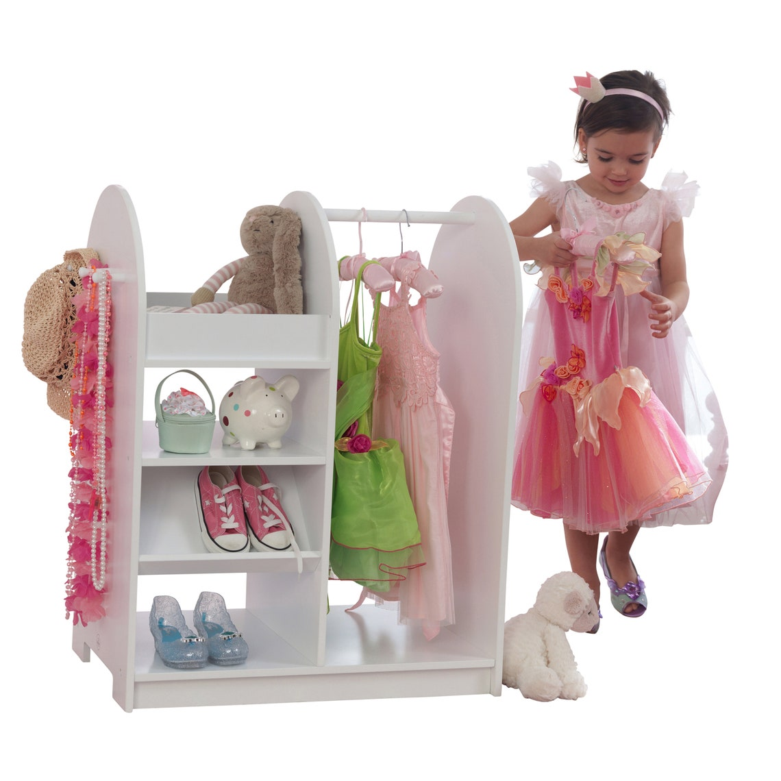 Fashion Pretend Play Station - White, Baby Girl Dress Up Storage Center, Childrens Clothing Rack, Wooden Garment Frame, Kids Dress Up Clothe