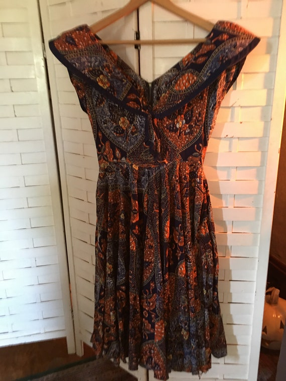 1950's Vintage Home/Hand Made Cotton Batik Dress