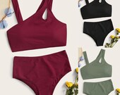 Summer Women 39 s Sloping Shoulder Hollow Out High Waisted Solid Colors Bikini Set Swimsuit Swimwear Beachwear Stroje Kapielowe P4
