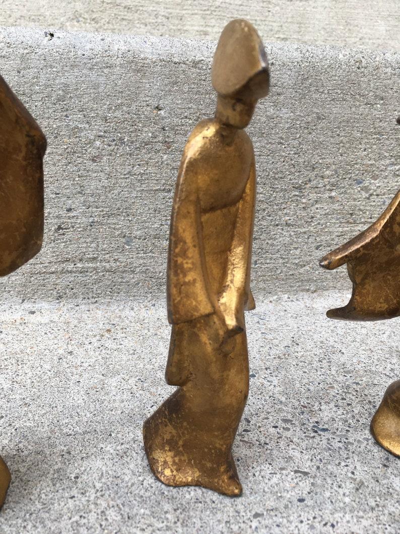 Trio of Modernist Cast Iron Japanese Bon ODori Dancers Okimono Nambu Tetsu Mid Century statue sculpture Japan