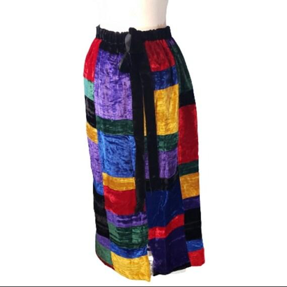 Mr. Hank Vintage Patchwork Velvet Skirt - image 6