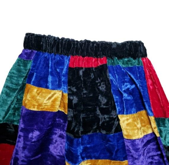 Mr. Hank Vintage Patchwork Velvet Skirt - image 2
