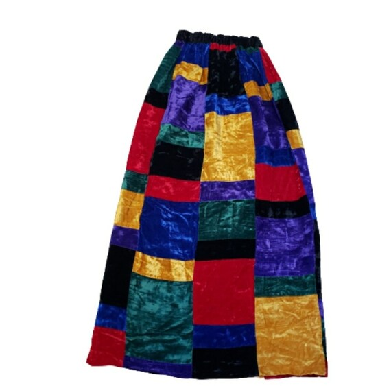 Mr. Hank Vintage Patchwork Velvet Skirt - image 1