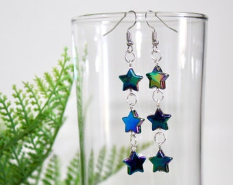 handmade black iridescent acrylic star earrings