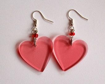 handmade large lightweight acrylic pink heart earrings