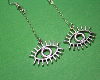 Hypoallergenic Cosplay Evil Eye Charm Chain Handmade Lightweight Dangly Earrings